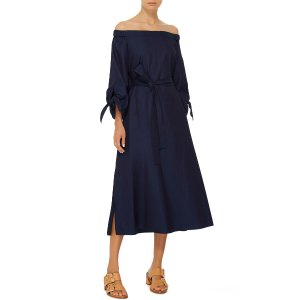 Off-the-Shoulder Denim Midi Dress by Tibi