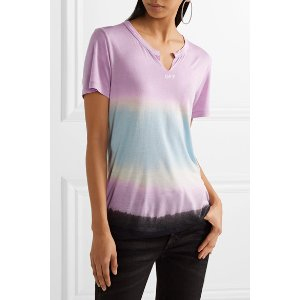 Off-White | Printed tie-dyed Micro Modal T-shirt | NET-A-PORTER.COM