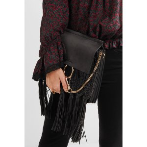 Chloé | Faye medium braided leather and suede shoulder bag