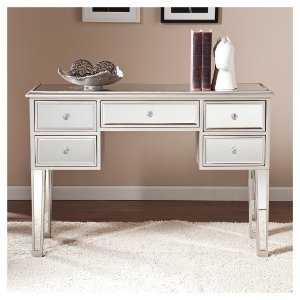 Tobias Mirrored Desk - Silver - Aiden Lane : Target