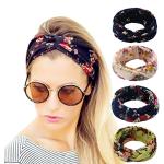 Hippih 4 Pack Women's Headbands Elastic Turban Head Wrap Floal Style Hair Band