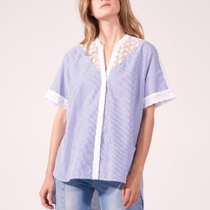 Striped Cotton Top With Lace Inset - Tops & Shirts - Sandro-paris.com