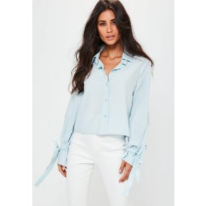 Missguided - Blue Tie Sleeve Shirt