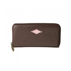 Pampeano 100% Leather Rico Zipped Women Purse – Brown with Pink Diamond - Accessories | Unineed | Premium Beauty & Fashion