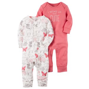 Baby Girl 2-Pack Babysoft Coveralls | Carters.com