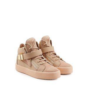 Leather and Suede Mid-Top Sneakers - Giuseppe Zanotti