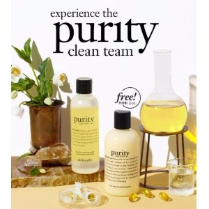 Free purity made simple one step facial cleanser 2oz.with any purity made simple micellar cleansing water purchase @ philosophy