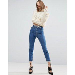 ASOS FARLEIGH High Waist Slim Mom Jeans In Harley Flat Blue Wash at asos.com