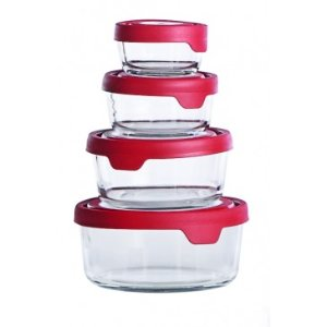 Anchor Hocking TrueSeal 8pc Round Glass Food Storage Set