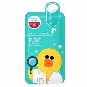 MEDIHEAL P.D.F AC Dressing Ampoule Mask Line Friends (10pcs) | 美迪惠尔PDF镇定抗痘针剂面膜 Line Friends (10片装)