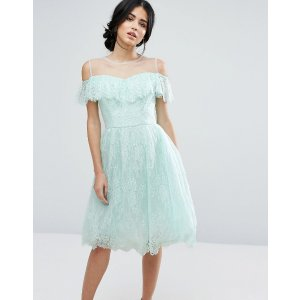 Chi Chi London Midi Dress In Eyelash Lace With Frill Overlay