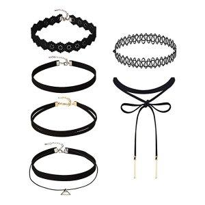 Amazon.com: Mudder 6 Pieces Black Velvet Choker Necklaces Set Gothic Stretch Tattoo Choker Elastic Tassel Pendant Necklaces for Women Girls: Jewelry