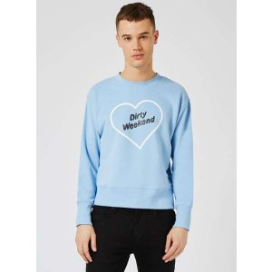 TOPMAN DESIGN Blue Dirty Weekend Sweatshirt - View All Clearance - Clearance - TOPMAN USA
