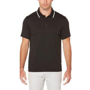 Short Sleeve Stripe Collar Polo - Perry Ellis