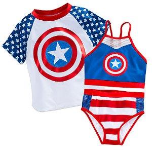 Captain America Swim Set for Girls - 3-Pc. | Disney Store