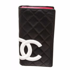 Chanel Pre Owned - Chanel Black Quilted Leather White Cc Cambon Long Wallet | Bluefly.Com