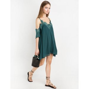 Chiffon Lace Pleated Off The Shoulder Dress