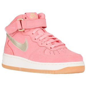 Nike Air Force 1 '07 Mid - Women's - Basketball - Shoes - Bright Melon/Metallic Silver/Sail/Gum Brown