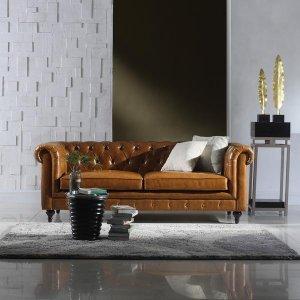 Essex Leather Chesterfield Sofa | Sofamania.com