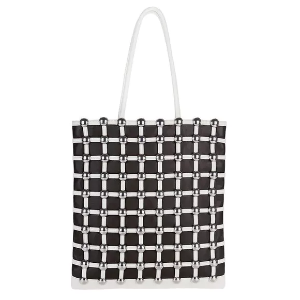DOME STUD CAGE SHOPPER IN WHITE - WHITE by Alexander Wang