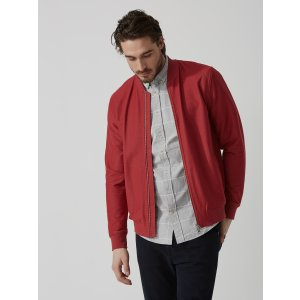 Twill Cotton-Stretch Bomber Jacket in Lava   Frank And Oak