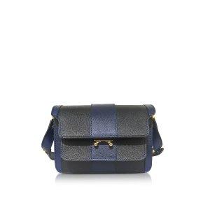 Marni Night Blue and Black Striped Saffiano Leather Mini Trunk Bag