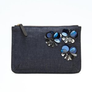 Embellished Denim Zip Pouch | Banana Republic