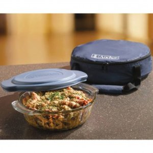 Anchor Hocking 3pc Set Casserole and Blue Tote - Glass Bakeware - Bakeware - Food Preparation