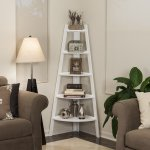 Danya B White Five Tie Corner Ladder Display Bookshelf