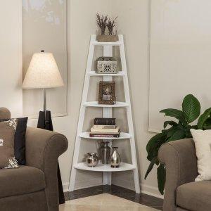 Danya B White Five Tie Corner Ladder Display Bookshelf
