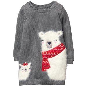 白熊针织连衣裙