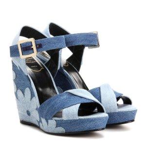 Roger Vivier - Denim patchwork wedge sandals