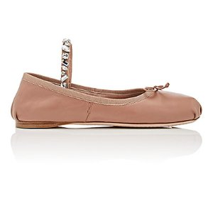 Miu Miu Embellished-Strap Leather Flats | Barneys New York