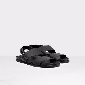 Mens Black Double Strap Leather Sandals