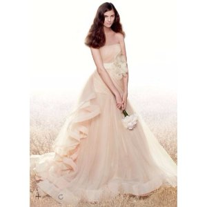 White by Vera Wang Tricolored Draped Wedding Dress