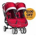 Baby Jogger 2016 City Mini Double Stroller - Crimson / Gray