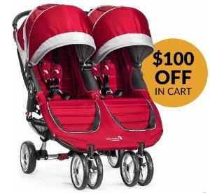 $349.99无税包邮(原价$449.99)川普孙子孙女同款!Baby Jogger 2016 City Mini双人童车,红色款