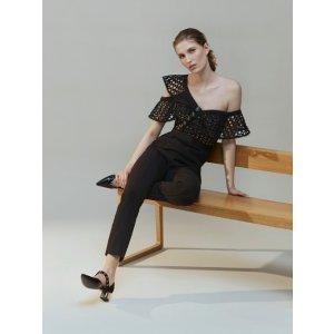 One-shoulder guipure-lace jumpsuit | Self-portrait