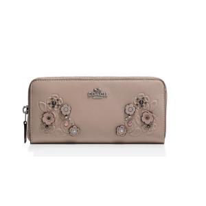 Slim Accordion Zip Wallet in Glovetanned Leather & Tea Rose Tooling