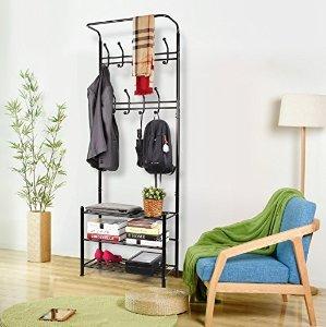 homfa fashion heavy duty garment rack with shelves 3tier shoes rack coat