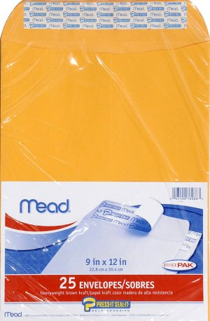 Mead Envelopes, Press-It Seal-It, 9 x 12 In, 25 Pack