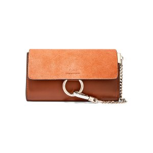 Chloé   Faye mini leather and suede shoulder bag