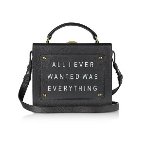 Meli Melo Black Leather Art Bag w/Front Text Floater