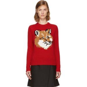 Maison Kitsuné - Red Lurex Fox Head Sweater