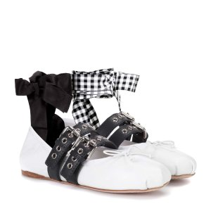 Miu Miu - Buckle-embellished leather ballerinas | mytheresa.com