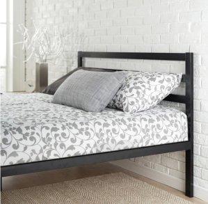 Priage Black Steel Platform Full Size Bed
