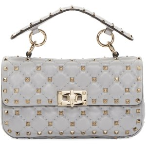Valentino: Grey Small Rockstud Matelasse Bag