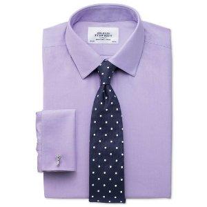 Extra slim fit non-iron twill lilac shirt | Charles Tyrwhitt