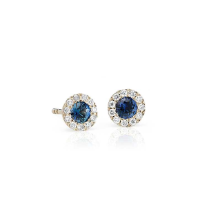 Petite Sapphire and Diamond Halo Crown Stud Earrings in 14k Yellow Gold (3.5mm) | Blue Nile