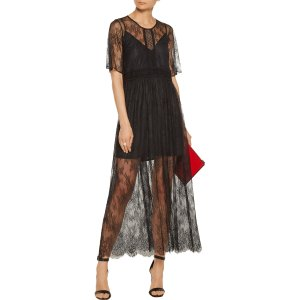 Pointelle-trimmed chantilly lace midi dress